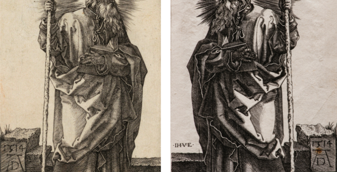 two images; left image is a drawing of St. Thomas wearing robes, holding a staff and with halo rays emanating from his head by Albrecht Dürer; the second image is a similar image of St. Thomas by Johan Ladenspelder