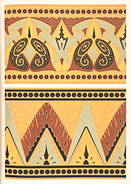 craft design of filigree, triangles, dots, lines with yellow, rust, and grey colors