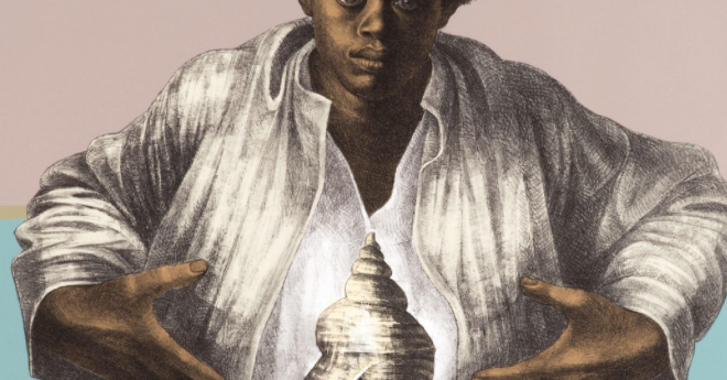surrealistic image of a young black man with a natural hairstyle with an open armed gesture; a seashell in the middle of his torso