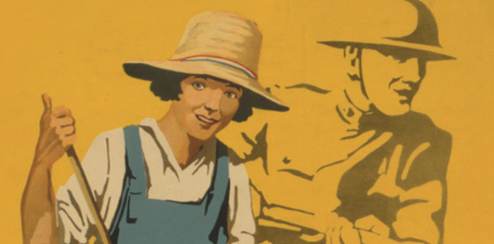 illustration of a young woman wearing a straw hat and overalls and holding a handle of a rake or broom in one hand; behind and to the right is a faded image of a WWI soldier wearing a uniform and a WWI Brodie combat helmet
