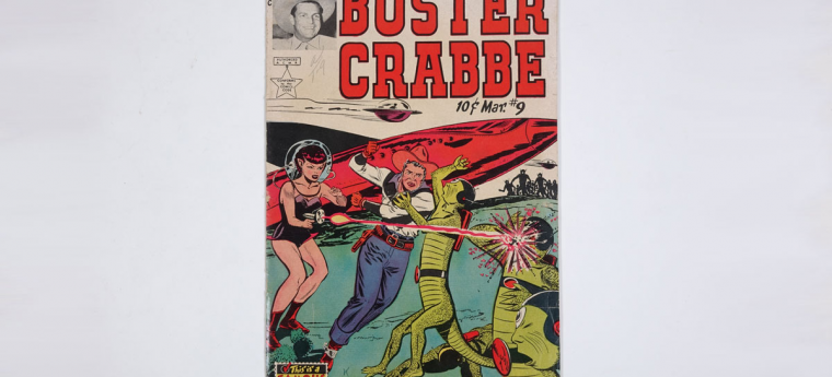 comic book cover showing a woman wearing a space helmet shooting a laser gun at a green lizard-like alien; cowboy is fist fighting another alien; text reads Buster Crabbe
