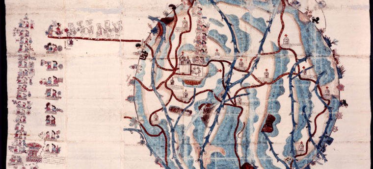 map of Teozacoalco Mexico from 1580; shows churches and other buildings, people, shining sun, plans