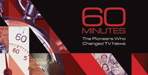 collage showing a stop watch at 60 with the text 60 Minutes The Pioneers Who Changed TV News