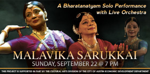 3 images of the same Indian woman dancer Malavika Sarukkai with the text A Bharatanatyam Dance Solo with Live Orchestra