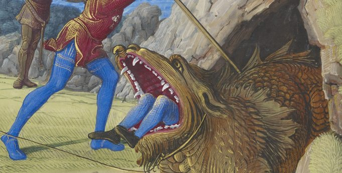 painting from 1500 showing two Medieval soldiers, one is stabbing a scaled dragon (a Tarasque), showing a person's legs inside the mouth of the creature