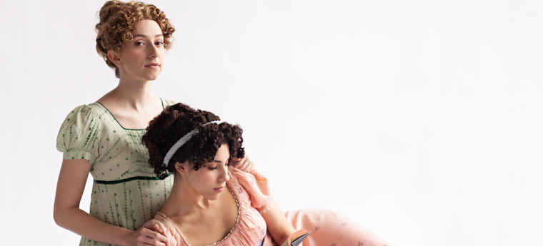 Elinor and Marianne Dashwood, two young women aged 19 and 16 dressed in Regency period dresses, one is reading a book