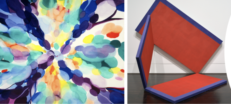 2 images of abstract art: a painting with colorful circles and a sculpture of 3 flat red panels with purple edges