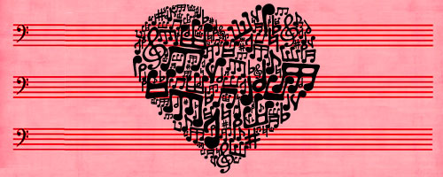 Graphic poster for Shakespeare's Twelfth Night showing pink staff paper with a heart made of musical notes
